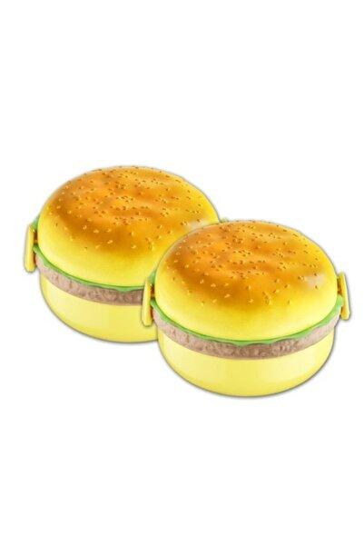 bermeks Beehome Beslenme Kabı Hamburger Görünümlü 3 Bölmeli 2'Li Set