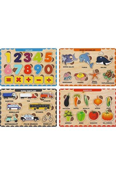 MAKETÇİNİZ 4 Adet Ahşap Bul Tak Eğitici Yapboz Puzzle Seti 2