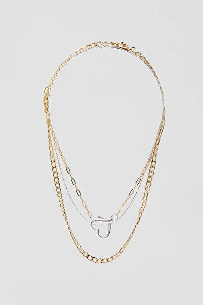 Pull & Bear Kadın Altın Rengi 3'Li Kalpli Kolye Seti 09996345