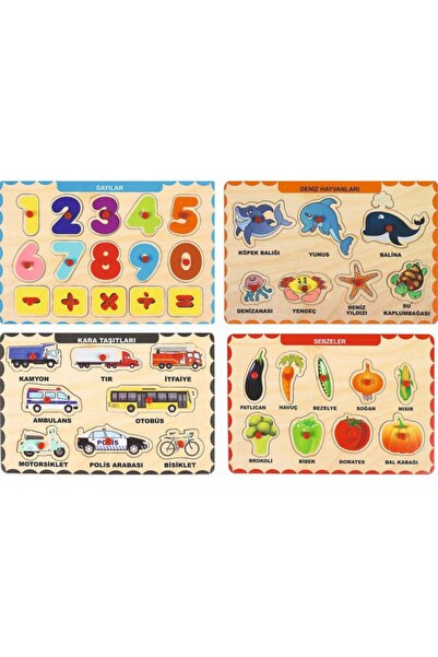 MAKETÇİNİZ Ahşap Tutmalı Eğitici Yapboz Puzzle Seti  4 Adet
