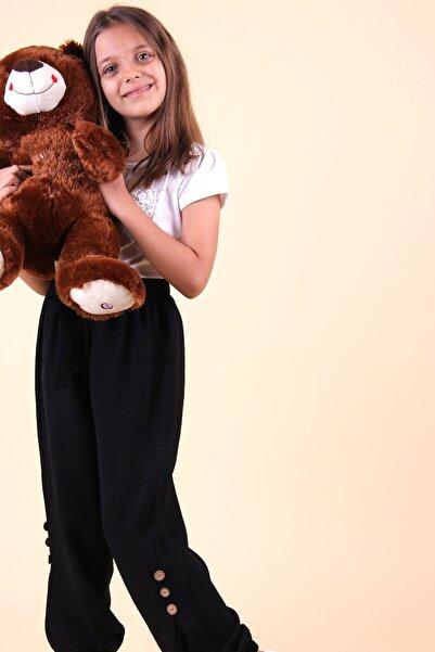Breeze Kız Çocuk Siyah Paçaları Düğmeli Pantolon