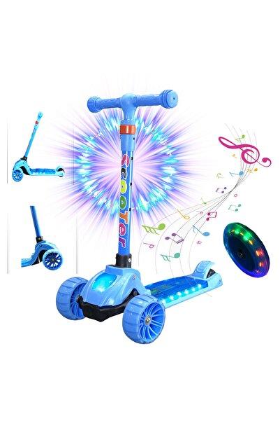 Pasifik Toys Led Işıklı Ve Müzikli 3 Teker Frenli Scooter - Mavi