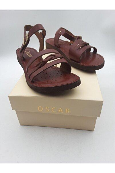 Oscar Kadın Kızıl Taba Içi Dışı Hakiki Deri Sandalet 91