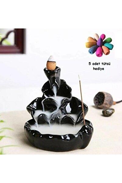 kokoş butik Zen Geri Akış Mistik Şelale Tütsülük Buhurdanlık 10 Cm + 5 Adet Tütsü Konisi
