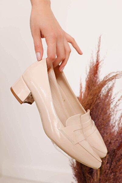 Hayalimdeki Ayakkabı Kadın Krem Luna Topuklu Rugan Ayakkabı