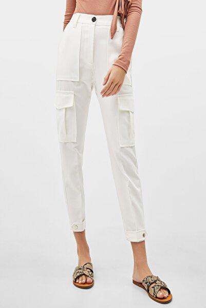 Sista Kadın Beyaz Paçası Düğmeli Kargo Pantolon