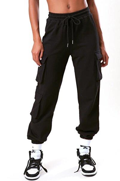 boutiquen Kadın Siyah Beli Ve Paçası Lastikli Üç Cepli Pantolon