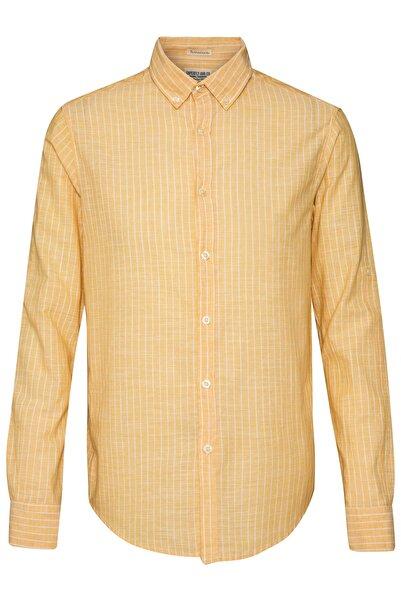 Superfly Erkek Sarı Uzun Kol Çizgili Gömlek