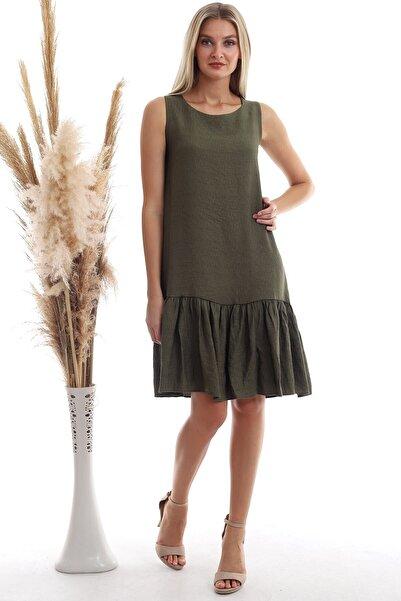 Cotton Mood Kadın Haki Keten Eteği Fırfırlı Cepli Kolsuz Elbise 20333433