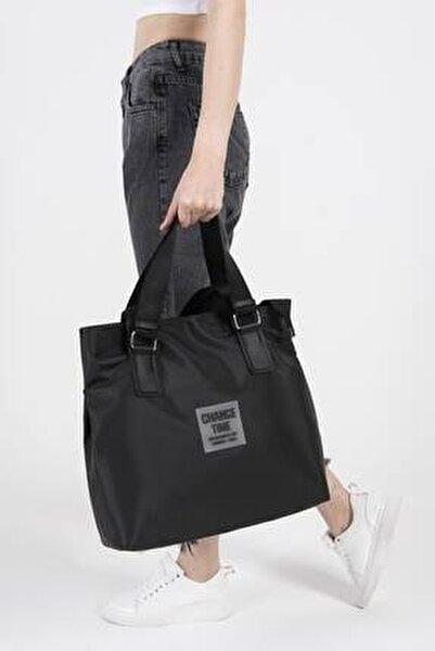 Kadın Siyah Çıtçıt Detaylı Büyük Çanta Ç3215 - F9 ADX-0000022923