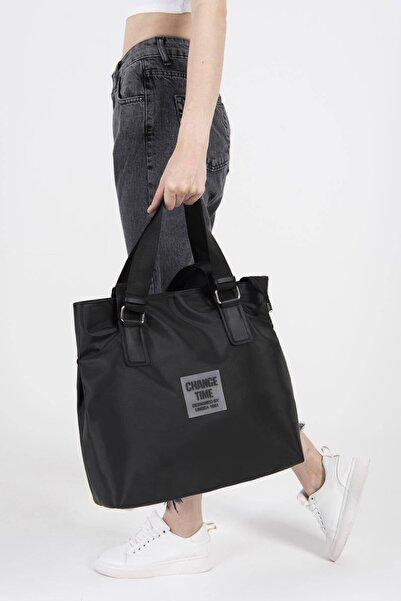 Addax Kadın Siyah Çıtçıt Detaylı Büyük Çanta Ç3215 - F9 ADX-0000022923