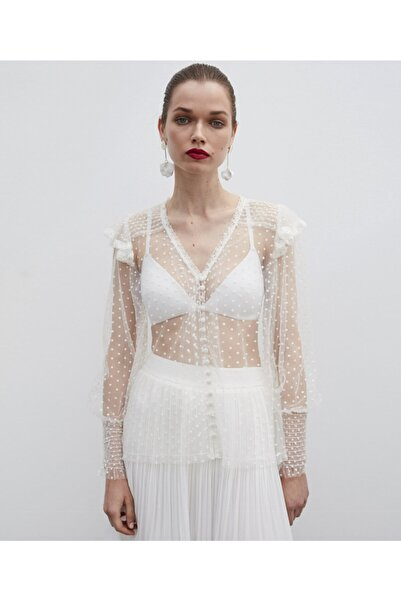 İpekyol Kadın Beyaz Dantel Şeritli Transparan Bluz