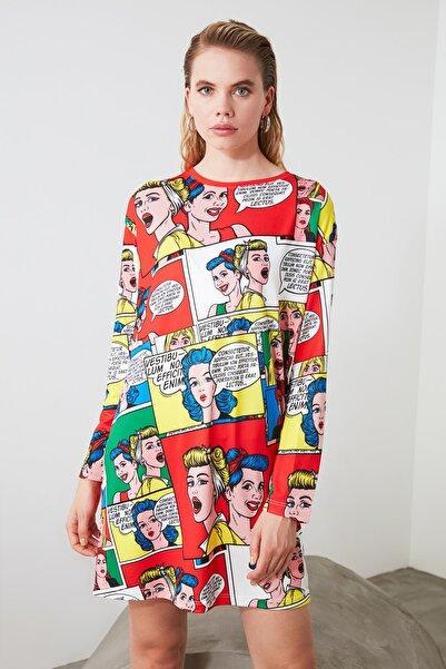 TRENDYOLMİLLA Sarı Desenli Mini Örme Elbise TWOAW21EL1418