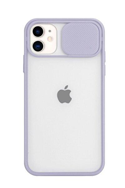 POFHİ Iphone 11 Kamera Slayt Korumalı Lila Şeffaf Telefon Kılıfı