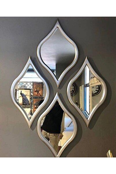 ESMIRA 4 Lü Gümüş Renk Ayna Seti