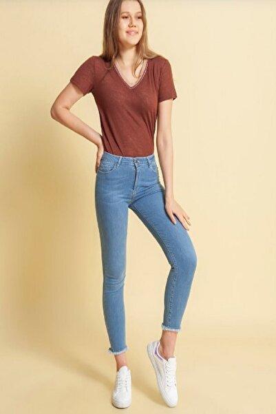 Fashion Friends Kadın İndigo Yüksek Bel Fit Pantolon