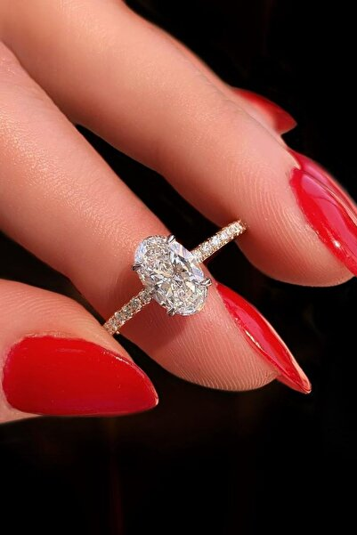 Crystal Diamond Zirconia Labaratuvar Pırlantası 1.30 Carat Oval Tektaş Yüzük