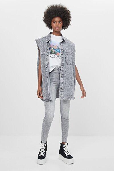 Bershka Kadın Gri Yüksek Bel Skinny Jean
