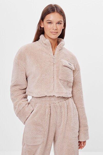 Bershka Kadın Bej Kırpılmış Ceket