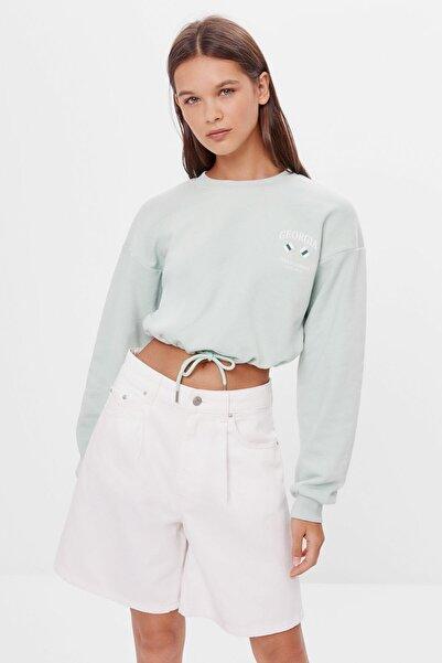 Bershka Kadın Turkuaz Baskılı Bağcıklı Sweatshirt