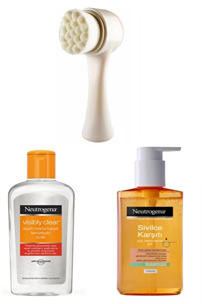 Neutrogena Sivilce Karşıtı Cilt Temizleme Jeli Tonik Ve Cilt Temizleme Fırçası