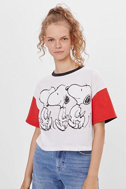 Bershka Kadın Snoopy Kontrast T-shirt