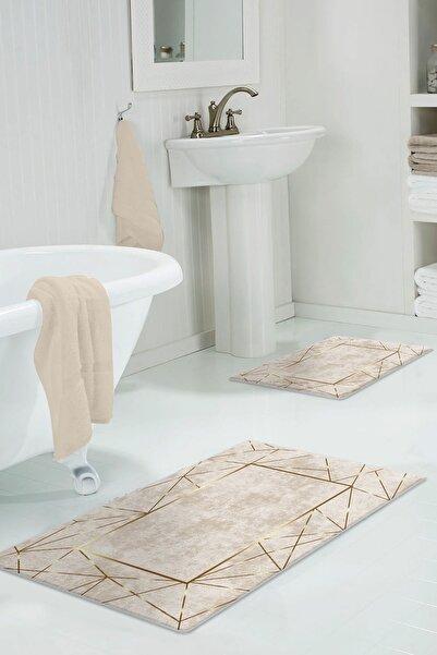 colizon 50x80 - 40x50 Dijital Banyo Halısı Kaymaz Tabanlı Klozet Takımı 2'litykdb-2400-k