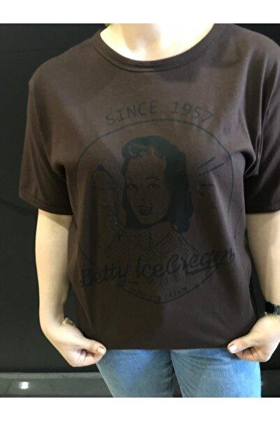 Panda Kadın Kahverengi Betty Ice Cream Baskılı T-shirt