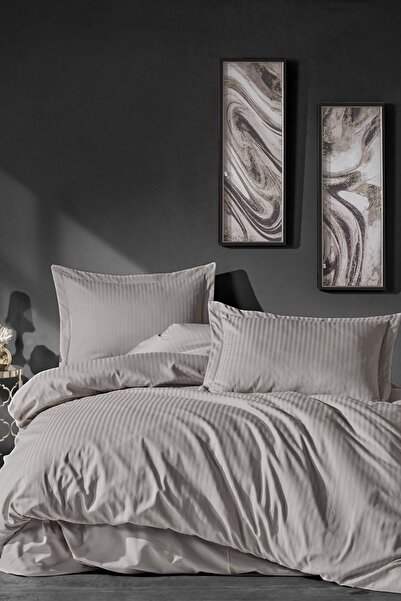 Cotton Box Elegant Stripe Saten Çift Kişilik Nevresim Takımı Bej