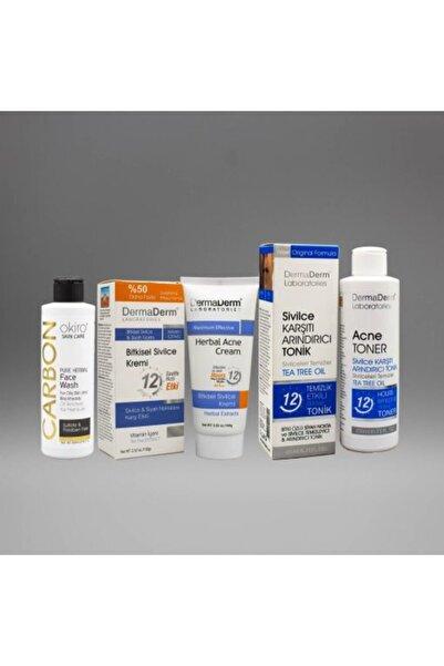 DermaDerm Sivilce Kremi + Cilt Temizleme Jeli & Losyonu + Okiro Keratin Şampuan