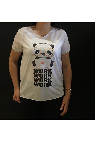 Panda Kadın Beyaz  Work Yazılı T-shirt