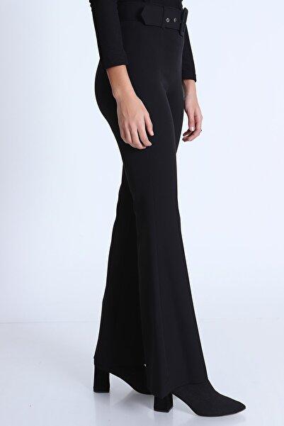 MD trend Kadın Kemerli Ispanyol Paça Pantolon/siyah/42