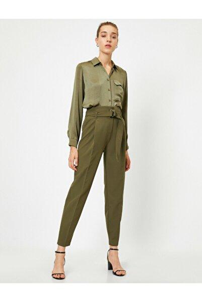 Koton Kadın Yeşil Cepli Kemerli Havuç Pantolon