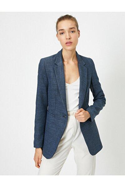 Koton Kadın Mavi Cep Detayli Dügmeli Blazer Ceket