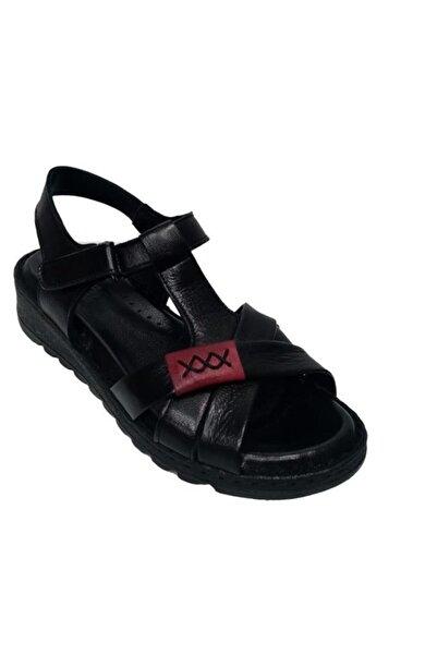 Nehir Kadın Siyah Hakiki Deri Ortopedik Sandalet