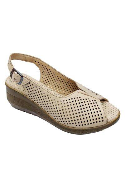 Nehir Kadın  Bej Üçel Hakiki Deri Ortopedik Sandalet 070