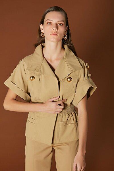 İpekyol Kadın Haki Bel Vurgulu Düğme Aksesuarlı Ceket IS1200005077022