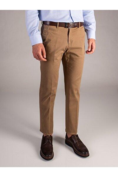 Dufy Erkek Koyu Bej Büyük Beden Düz Sık Dokuma Pantolon - Battal
