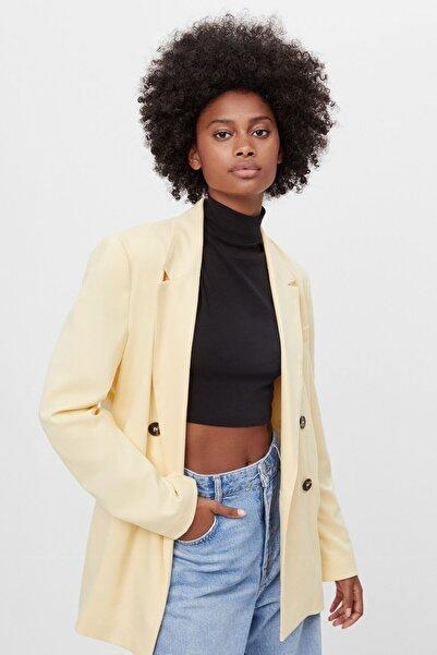 Bershka Kadın Sarı Düz Kesimli Blazer Ceket