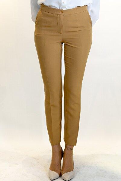 Lefon Kadın Karamel Dar Kesim Cepli Pantolon