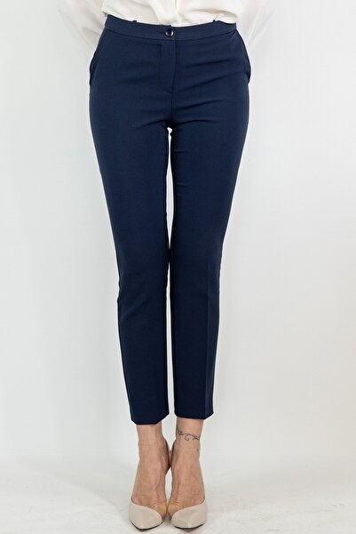 Lefon Kadın Lacivert Dar Kesim Cepli Pantolon