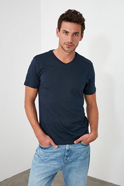Lacivert Erkek Basic Slim Fit T-Shirt - Pamuklu V Yaka TMNSS19BO0002