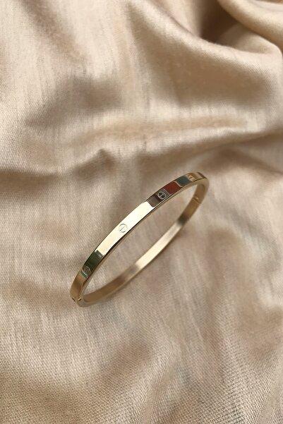 Cartier Model Ince Kesim 316l Çelik Altın Rengi Bileklik
