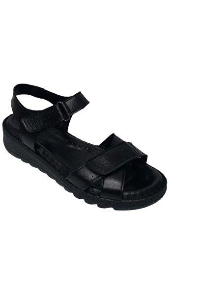 Nehir Kadın Siyah Hakiki Deri Ortopedik Sandalet 041
