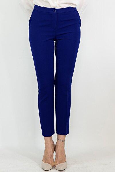 Lefon Kadın Saks Mavi Dar Kesim Cepli Pantolon