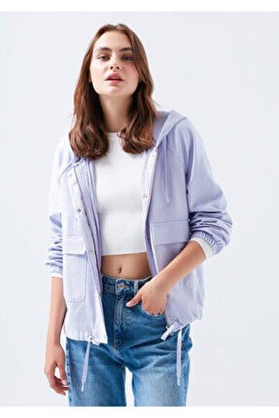 Kapüşonlu Lila Ceket