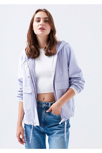 Mavi Kapüşonlu Lila Ceket