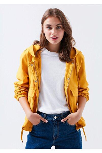 Kadın Hardal Kapüşonlu  Ceket