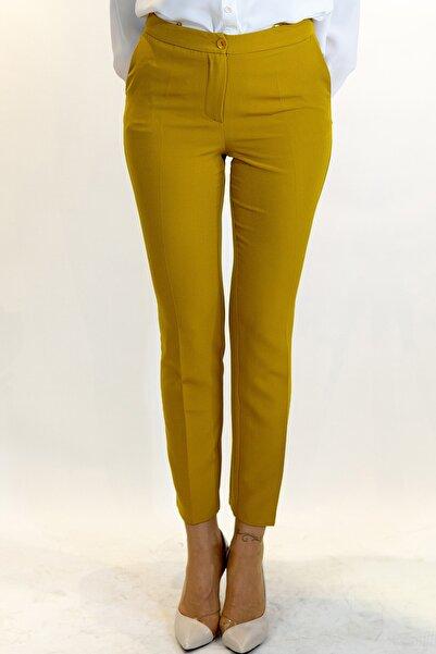 Lefon Kadın Safran Dar Kesim Cepli Pantolon