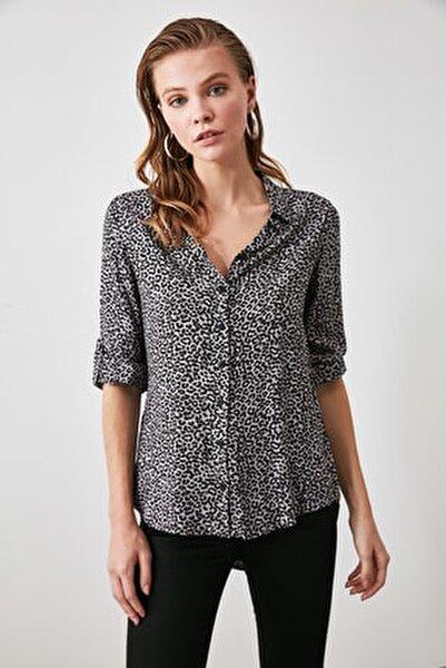 Lila Leopar Baskılı Gömlek TWOAW20GO0520